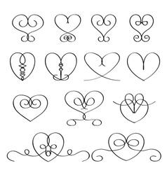 Calligraphic heart vector