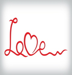 Love and heart from red ribbon vector image vector image