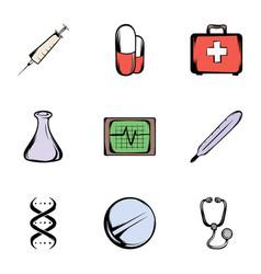 medicine icons set cartoon style vector image
