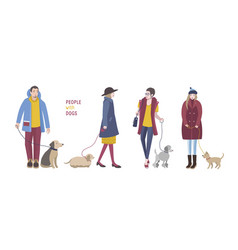 people walking with dogs colorful flat vector image vector image