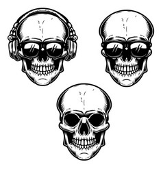 set of the human skulls skull with headphones and vector image vector image