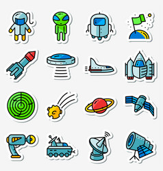 space icons set thin simply stickers with vector image