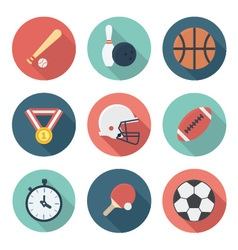 Sports and Athletes Gear Flat Icons Set vector image