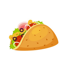 taco wrap with tortilla ham and vegetables vector image vector image