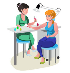 a woman gets manicure a nail master in a beauty vector image vector image