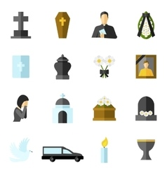 Funeral Flat Icons Set vector image