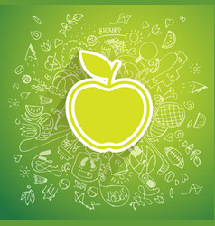 helthy lifestyle apple concept doodle vector image