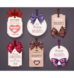 Set Retro Labels with Bows vector image