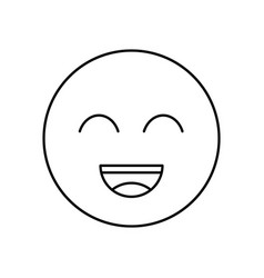 smile outline icon isolated lined vector image vector image