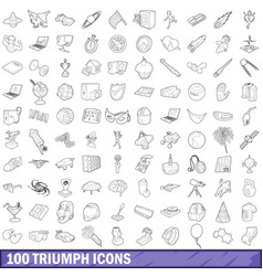 100 triumph icons set outline style vector