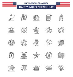 25 line signs for usa independence day usa vector