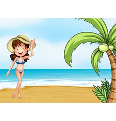 A lady wearing swimming attire vector