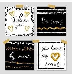 a set hand drawn style greeting cards in black vector image