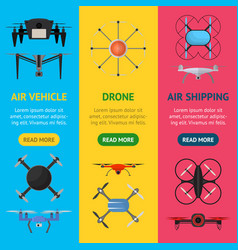air drone color drone banner vecrtical set vector image