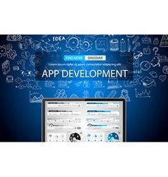 App Development Concept Background with Doodle vector
