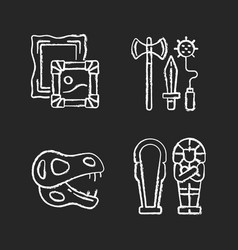 archaeological excavation chalk white icons set vector image