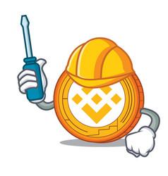 Automotive binance coin mascot catoon vector