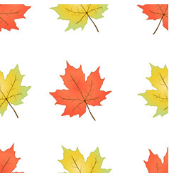 Autumn seamless pattern maple leaves on a white vector