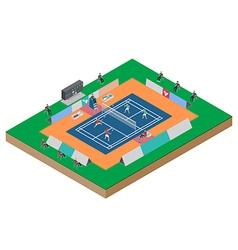 Badminton competition double match vector