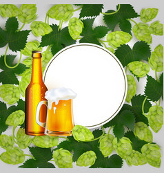 beer poster with hop leaves and lager mug vector image