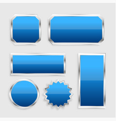 blue glossy buttons set with metallic frame vector image