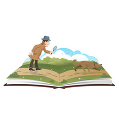 book about detective with magnifying glass and vector image