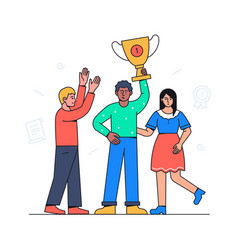 business victory - colorful flat design style vector image