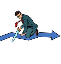 businessman sawing curve graph self-destruction vector image