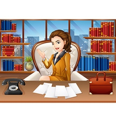 Businesswoman working in the office vector