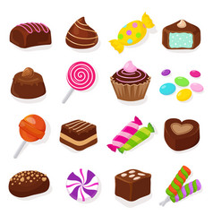 cartoon black chocolate sweet candies and vector image