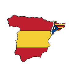 catalunya flag and country outline separated from vector image
