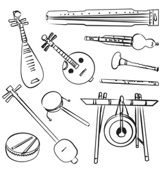 Chinese traditional musical instruments vector image