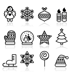 Christmas icons with stroke - Xmas tree angel vector image