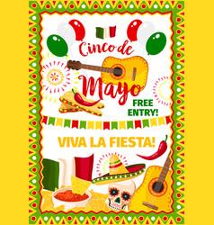 cinco de mayo fiesta mexican greeting card vector image