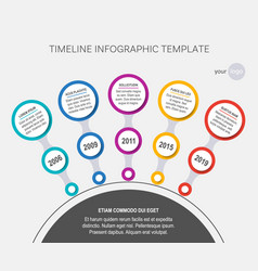 circle timeline template of company history vector image