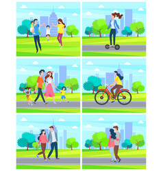 city park people walking in town couples and youth vector image