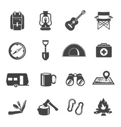 Collection flat icons - touristic gear vector