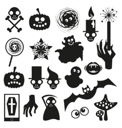Collection of Halloween black icons vector image