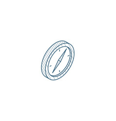 compass navigation isometric icon 3d line art vector image