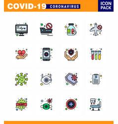 Corona virus 2019 and 2020 epidemic 16 flat color vector