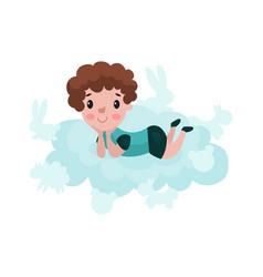 Cute little boy lying on a cloud kid fantasizes vector