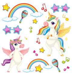 cute unicorn with music theme vector image