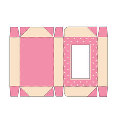 Die cut box with lid in pink vintage colors with vector