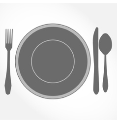 Dinner Set - plate knife spoon and fork vector image