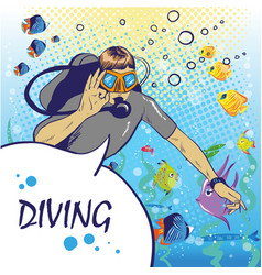 Diver under water with aqualung pop art style vector