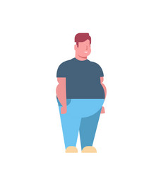 Fat obese man standing pose over size guy obesity vector