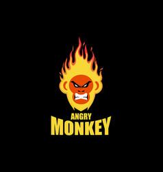 fire monkey logo design vector image