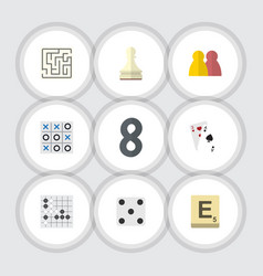 Flat icon entertainment set of gomoku ace vector