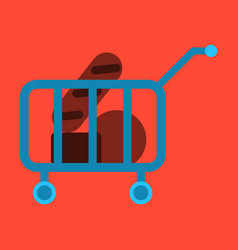 Flat icon shop cart with food vector