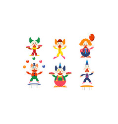 flat set clowns in different actions vector image